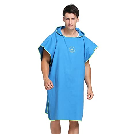 d924be995e07f7 XPOWER Hooded Poncho Towel Surfing Changing Robe Adult Beach Swim Poncho  Blue