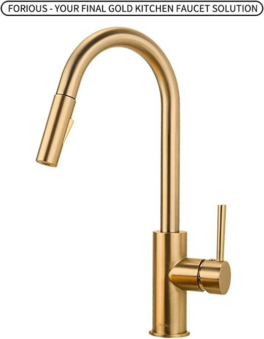 Gold Kitchen Faucet with Pull Down Sprayer, Kitchen Faucet Sink Faucet with  Pull Out Sprayer, Single Hole and 3 Hole Deck Mount, Single Handle Copper  ...