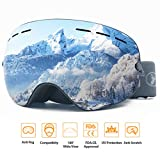 ROCONTRIP Ski Snowboard Goggles Frameless Detachable Dual Layer Lens OTG Spherical Design Anti-Fog 100% UV400 Anti-Slip Strap for Men Women Youth