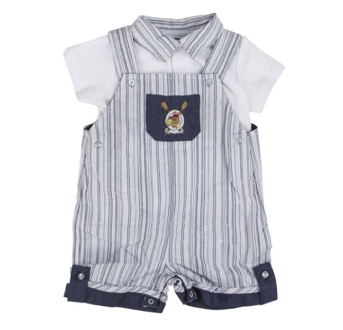 Blue Pinstripe with Bunny Baby Easter Outfit for Boys
