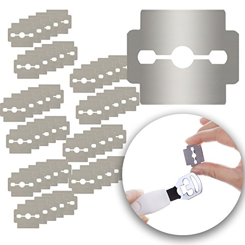 Set of 50pcs Stainless Steel Replacement Razor Blades for Foot Care, Hard Calluses Removers Corns Shavers Horn Skin Cutters Planers Pedicure Peelers