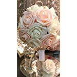 DerBlue-60pcs-Artificial-Roses-Flowers-Real-Looking-Fake-Roses-Artificial-Foam-Roses-Decoration-DIY-for-Wedding-BouquetsArrangements-Party-Baby-Shower-Home-Decorations-with-Green-LeavesChampagne