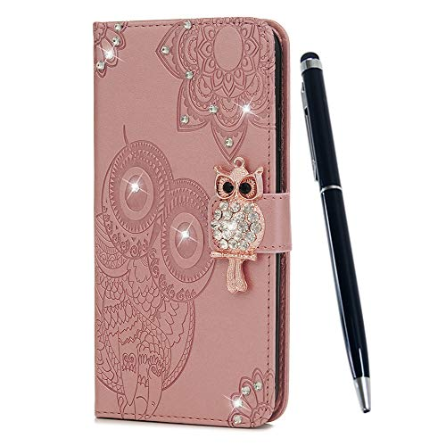 ZSTVIVA iPhone Xr 6.1 inch Case, Wallet Case Cover PU Leather 3D Sparkle Diamond Magnetic Folio Bumper Embossed Lovely Owl Totem Waterproof Card Holders Protective Skin Shell - Rose Gold