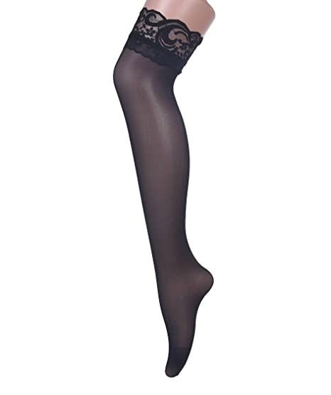 845994fa1 Women s Stay Up Lace Top Thigh High Stockings Elastic Over Knee Socks Black