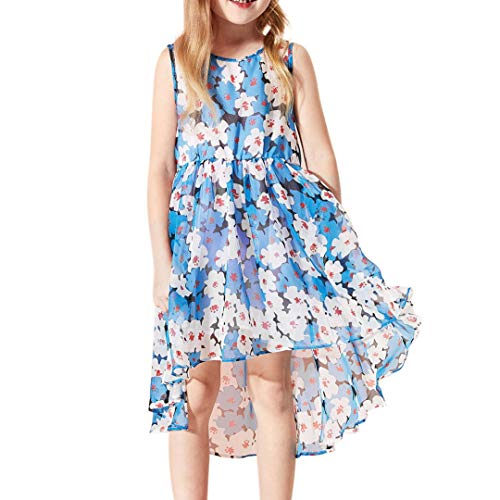 Elegant Floral Chiffon Dresses for Girls Bohemian Style Holiday High Low Dresses 4-7 Years (Please Go Up One Size)
