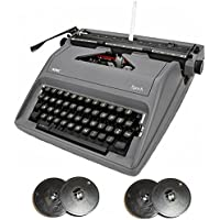 Royal Epoch Portable Manual Typewriter (Gray) & Typewriter Ribbon (2-Pack)