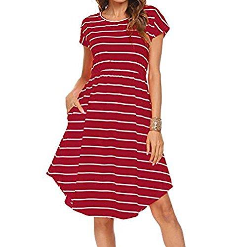 Women Dress Daoroka Sexy Summer Striped Casual Loose Short Sundress with Pockets Elastic Waist Skirt (L, ()