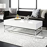 Black Lacquer Coffee Table Safavieh FOX2241A Home Collection Josef Black Retro Lacquer Floating Top Coffee Table, White Chrome