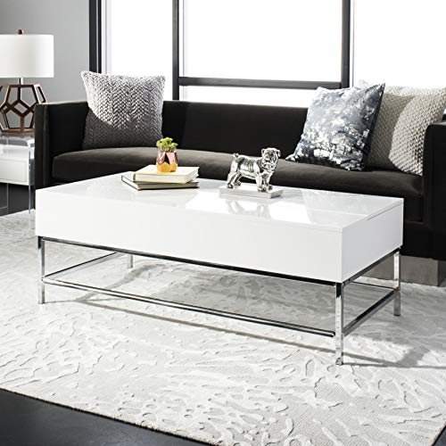 Safavieh FOX2241A Home Collection Josef Black Retro Lacquer Floating Top Coffee Table, White Chrome