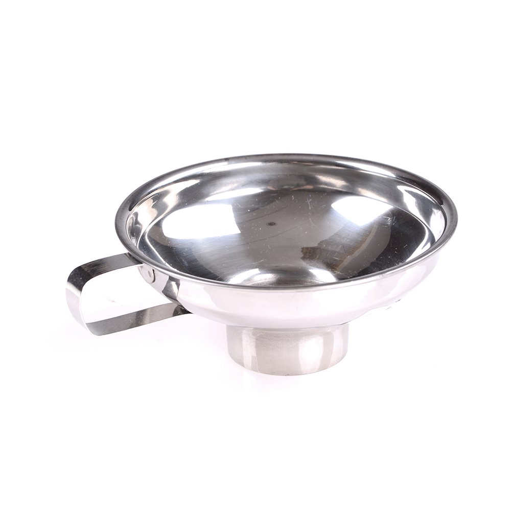 1 Pc Home Made Stainless Steel Jam Funnel / Wide-Mouth Filler Funnel Kitchen Funnel With Handle for Liquid, Fluid, Dry Ingredients & Powder Smileforlife