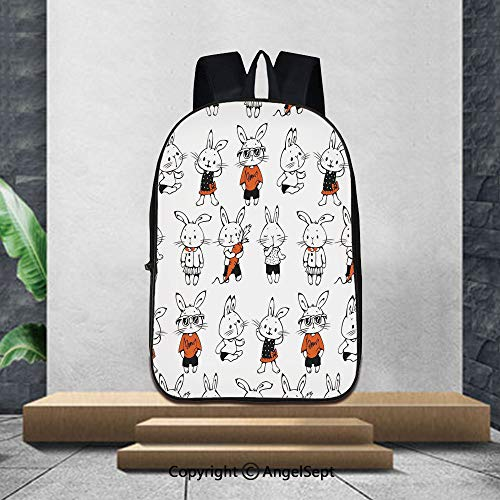 Lightweight Backpacks Casual School Bags,FunnyCute Retro Bunny Rabbits with Costumes Jack Hare Funky Bunnies Carrot Sketch Style,16.5