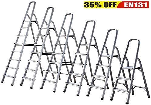 Escalera plegable de 3 4 5 6 7 8 peldaños, antideslizante, peldaño de seguridad de aluminio: Amazon.es: Bricolaje y herramientas