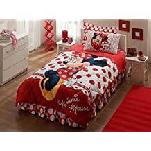 100% Cotton Minnie Mouse Bedding Set, Girls Comforter Set with Fitted Sheet, Single/Twin Size, Red, 5 PCS