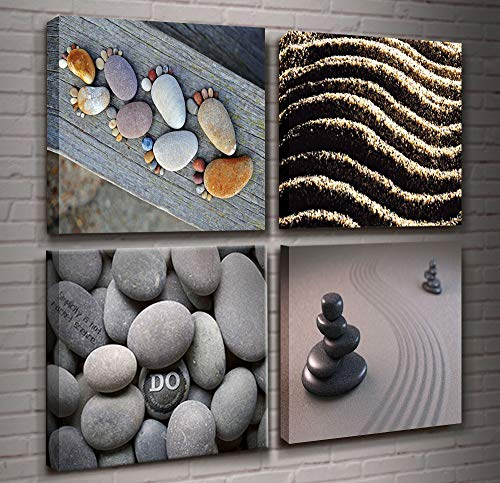 Summer Zen Theme Art 4 Piece Modern Giclee Canvas Picture Sea Beach Stone Sand Daisy Spa Canvas Prints Contemporary Frame Seascape Paintings on Canvas Wall Décor for Bedroom Home Decorations ()