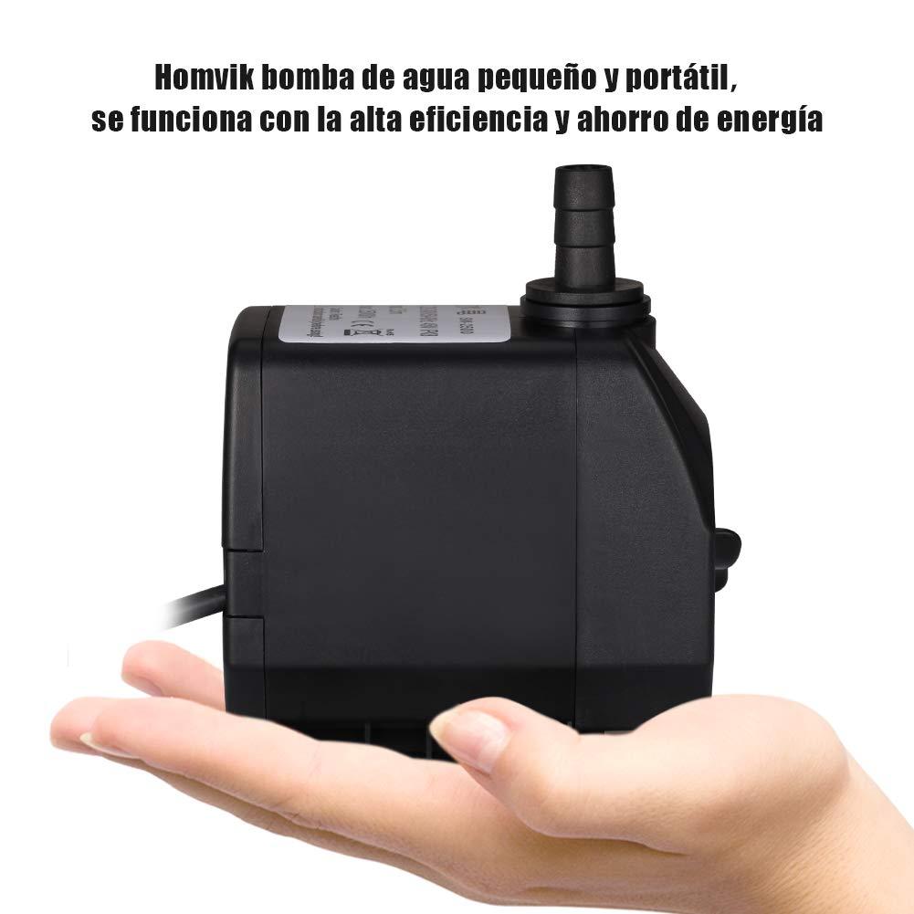 Homvik Bomba de Agua Sumergible para Acuario Estanque Pecera Fuente Circulación de Agua Dulce y Marino con 2 Boquillas 45W 2500L/H 2.5m de Altura: ...