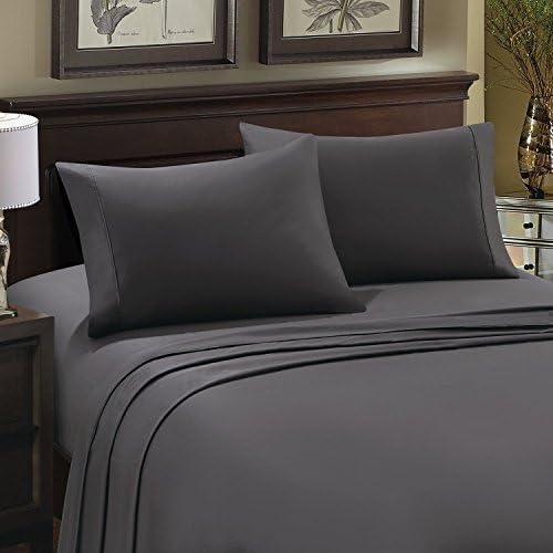 RoyalLinenCollection 1 jupe de lit – Gris anthracite massif King size 100 % coton égyptien 1000 fils avec poche extra profonde 38,1 cm