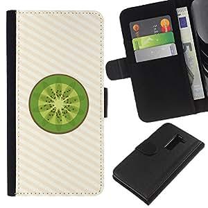 KLONGSHOP // Tirón de la caja Cartera de cuero con ranuras para tarjetas - Minimalista Kiwi Fruit Slice - LG G2 D800 //
