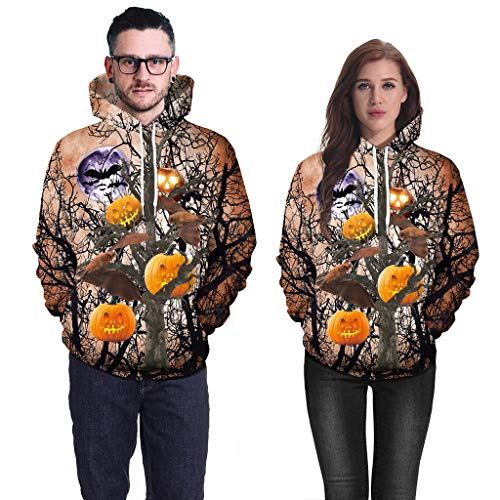 Sweatshirt for Couple, BXzhiri Mens Casual Scary Halloween Lover 3D Print Party Long Sleeve Hoodie Top Blouse Hoodie for Women