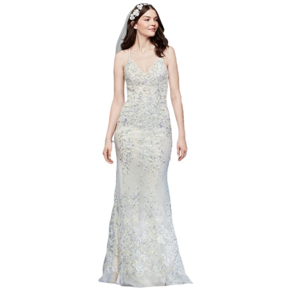 Davids Bridal Embroidered And Beaded Lace Sheath Wedding Dress