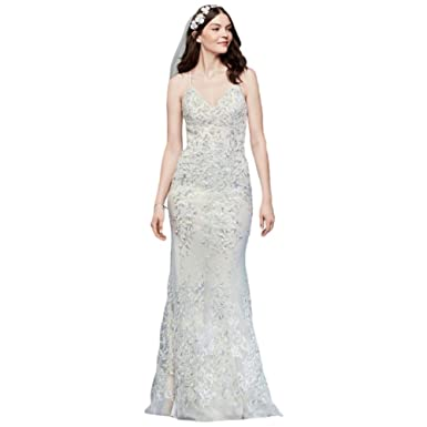 4725f209d Embroidered and Beaded Lace Sheath Wedding Dress Style MS251185, Ivory, 6
