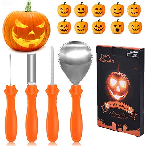IREGRO Pumpkin Carving Kit, 4 Professional Stainless Steel Pumpkin Carving Tools with 10 Carving Stencils for Halloween Party Decorations for $<!--$11.99-->