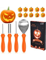 IREGRO Pumpkin Carving Kit, 4 Professional Stainless Steel Pumpkin Carving Tools with 10 Carving Stencils for Halloween Party Decorations