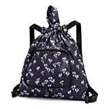 Foldable Drawstring Bag Waterproof Women Sports Gym Yoga Dance Travel Beach Outerdoor Backpack (moon flower)