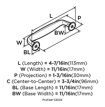 Amerock BP53034-WN Mulholland Pull 96 mm Center Weathered Nickel BP53034WN