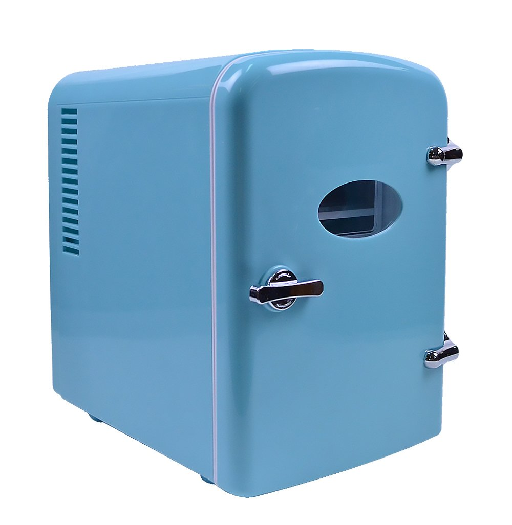 Retro Portable 6 Can Mini Fridge Cooler - Home,Office, Car or Boat - AC & DC - Blue - 110/120V