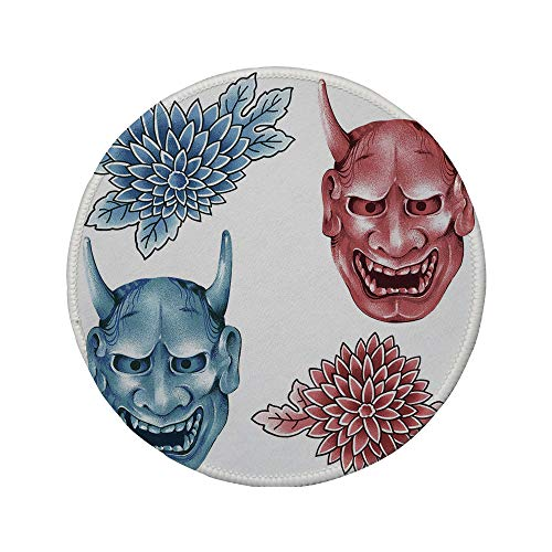 Non-Slip Rubber Round Mouse Pad,Kabuki Mask Decoration,Different Colored Masks of Japanese Demoness Ornate Flowers Art Decorative,Blue Red White,7.87