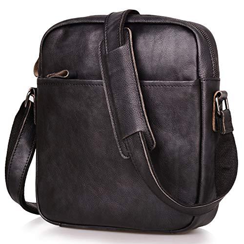 Jack&Chris Genuine Cowhide Leather Handmade Messenger Bag Crossbody Bag Shoulder HandbagIpad Bag for Men and Women,5205