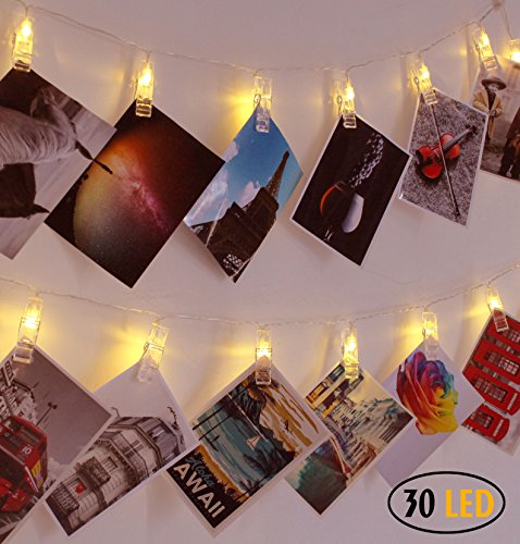 superdecor 30 led photo clips string lights decorations lights for dorm room bedroom usb powered 12 ft gift for college girls warm white (warm white)
