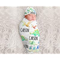 Baby Boy Personalized Dinosaur Blanket Personalized Swaddle Blanket Baby Boy Receiving Blanket Monogram Baby Blanket Baby Boys