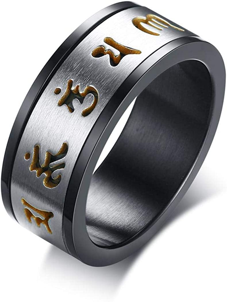 JEWURA Religious Ring Stainless Steel Ring Rotatable Gold Six-Word Mantra