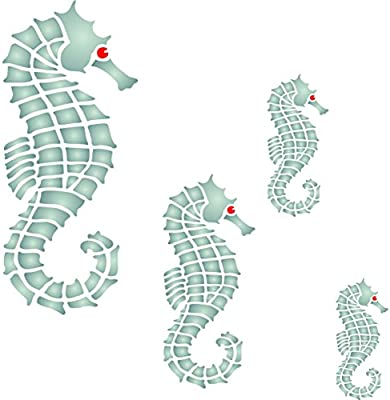 Seahorse Mural Stencil Reusable Wall Stencils For Painting Best Quality Mural Wall Art Ideas Use On Walls Floors Fabrics Glass Wood And More L 43216 115398 Amazon Ae
