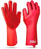Magic SakSak Reusable Silicone Dishwashing Gloves | Pair Of Rubber Scrubbing Gloves For Dishes | Wash Cleaning Gloves With Sponge Scrubbers For Washing Kitchen, Bathroom, Car and More
