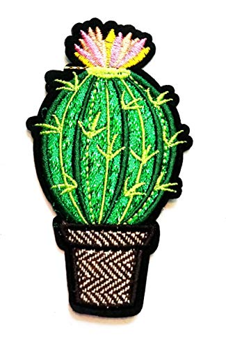 Nipitshop Patches Beautiful Bush Green Cactus Pink Flower Desert Plants Cartoon Kids Patch Embroidered Iron On Patch for Clothes Backpacks T-Shirt Jeans Skirt Vests Scarf Hat Bag