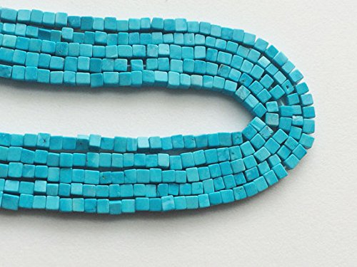 1 Strand Natural blu Turquoise Plain Box Beads, Turquoise Cubes, Turquoise Necklace, 3mm, 15 Inch