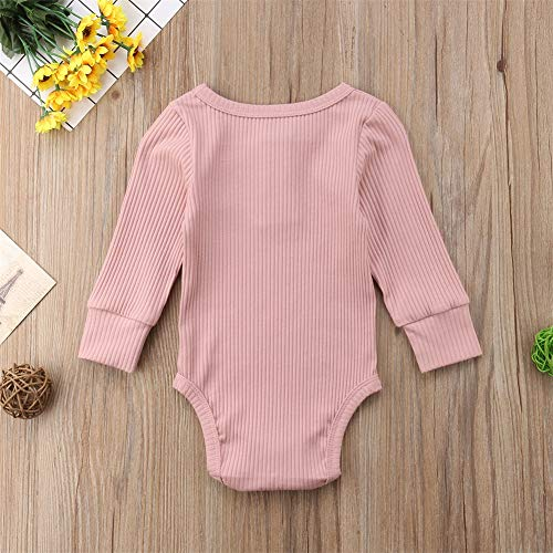 Emmababy Newbown Baby Boys Girls Knitted Sweather Rompers Sleepwear Long Sleeves Pajamas Fall Winter Bodysuit Pink by Emmababy (Image #1)
