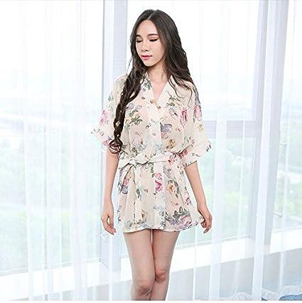 DHG Lencería Sex Sex Pijamas Transparentes Batas de Gasa Kimono Uniformes Faldas de Mujer Extremamente Atractivo