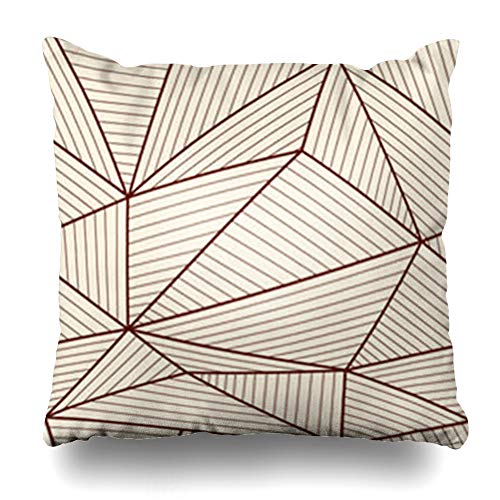 Aika Designs Throw Pillows Covers Pillowcase Abstract Beige Stripe Brown White Geometric Split Pattern Artistic Border Cell Endless Fissure Art Home Decor Zippered 20