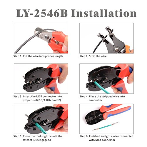 IWISS MC4 Crimping Tool Kit with Wire Cable Cutter, Stripper, MC4 Spanner and MC4 Connectors Solar PV Panel Tool Kit by IWISS (Image #3)