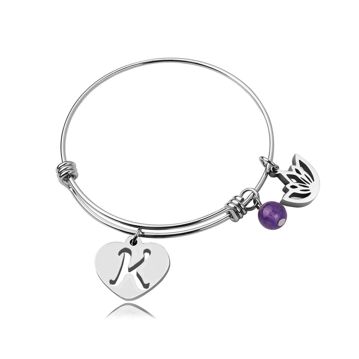 RUNXINTD Initial Bracelet Letter Bracelet Amethyst Charm Lotus Wire Bangle Bracelet for Women Girls, (K)