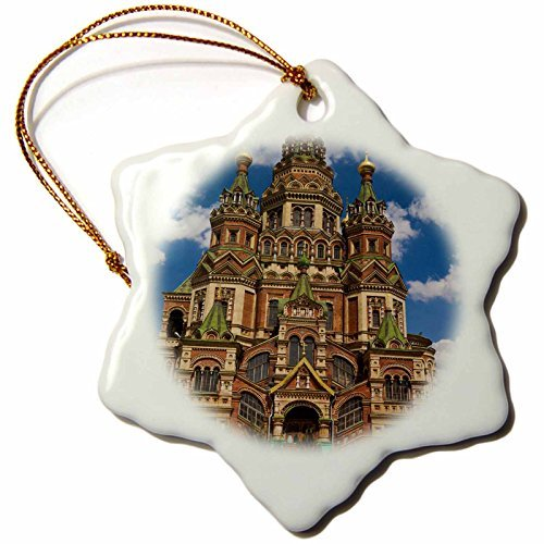 OneMtoss Danita Delimont Cathedrals Russia, St Petersburg, St Peter and Paul Cathedral EU WBI Walter Bibikow Snowflake Porcelain Ornament (Peter And Paul Cathedral St Petersburg Russia)