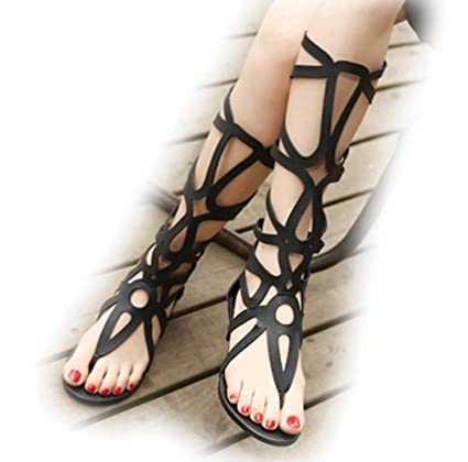 faaac13c9fd Sexy Cut-Outs Corss Lace Up High Top Women Flat Sandals Ladies Knee ...
