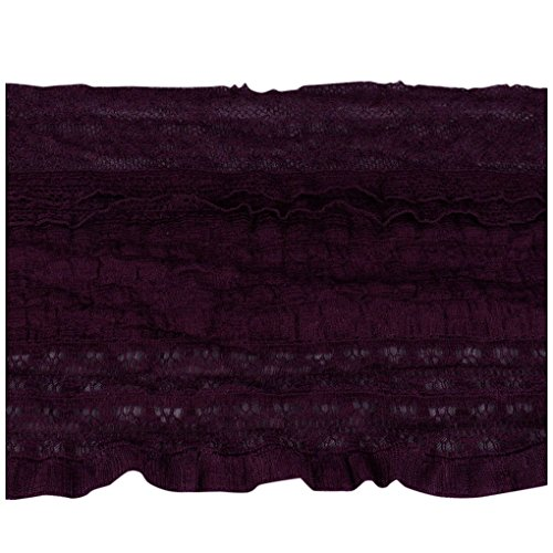 Eggplant Purple Stretch Ruffled Lace - 5.5 inches wide - 5 Yards