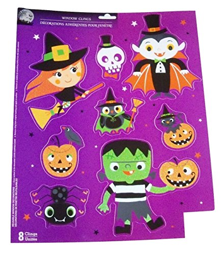[Halloween Reusable Glitter Window Clings ~ Characters Out for Fun (8 Clings, 1 Sheet)] (Halloween Cut Out Patterns For Pumpkins)