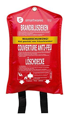 Smartwares Löschdecke 100 x 100 cm Feuerlöschdecke aus Glasfasertuch nach EN1869:1997, SW BBD130