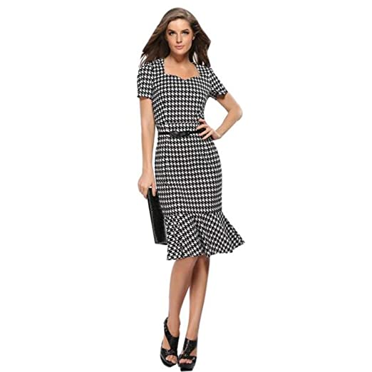 7b6b9f2495 DaySeventh Summer Women Short Sleeve Elegant Business Dress Office Bodycon  Dresses at Amazon Women's Clothing store: