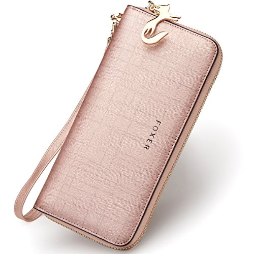 Wallet Bifold Wallet Clutch Wallet with Wristlet Card Holder (Rose Gold1) ()